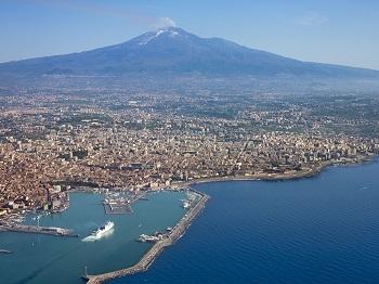 Расположение вулкана Этна