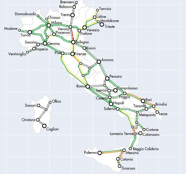 Карта железных дорог в Италии