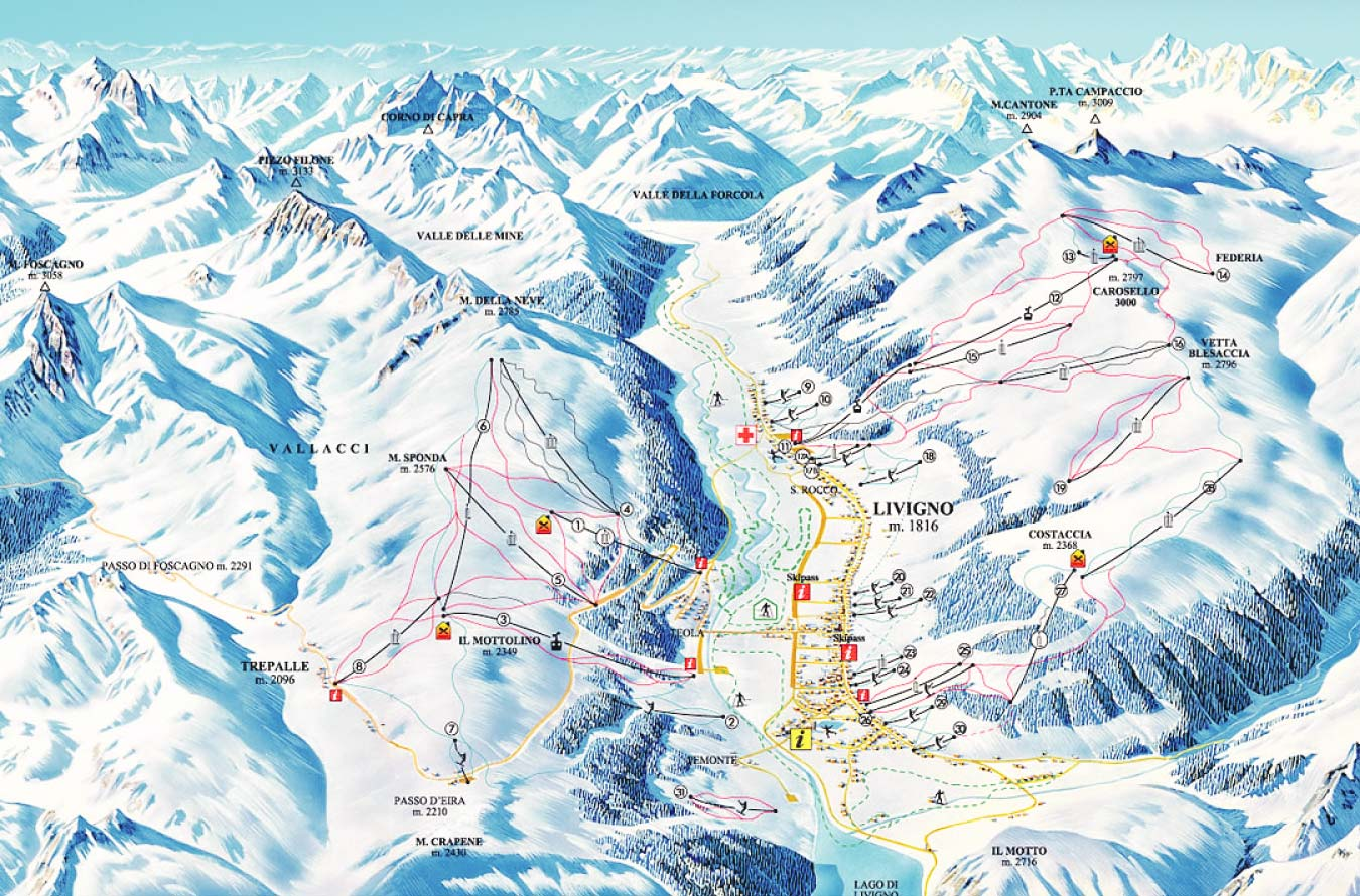 Карта трасс Ливиньо в Италии