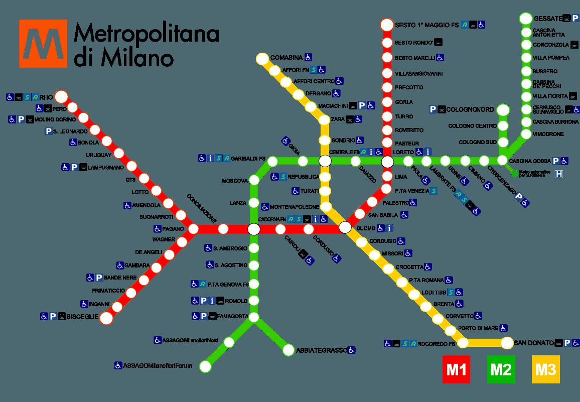 Карта (схема) метро Милана