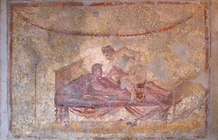 Одна из фресок Лупанария в Помпеях
