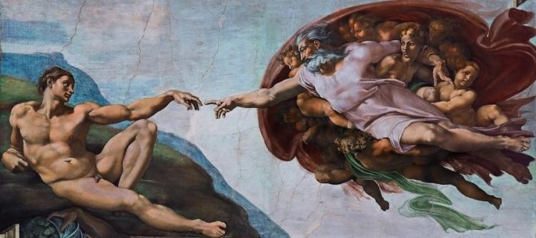 Работа Микеланджело в Сикстинской капелле - Сотворение Адама