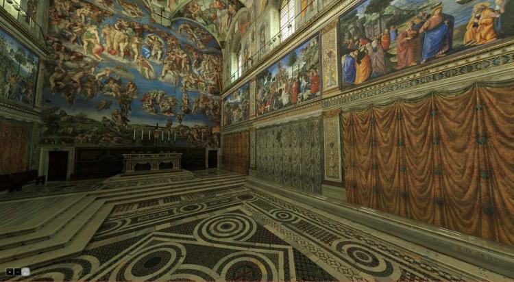 Внутренние помещения Сикстинской капеллы в музейном комплексе Ватикана