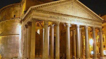 Римский Пантеон в ночном освещении